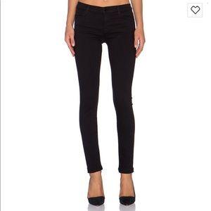 J brand black skinny leg denim jean mid rise 24